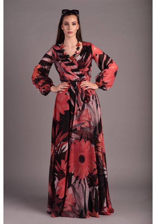 Black floral muslin long dress