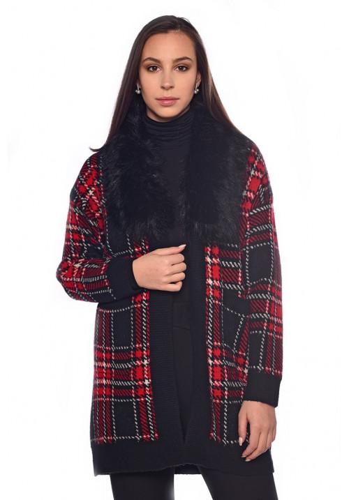 Piros kockás kötött kabát