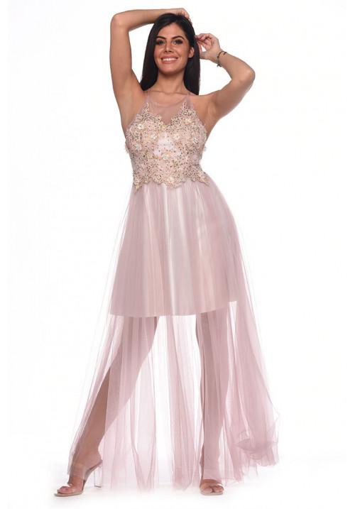 Mauve tutu long dress